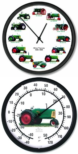 """New OLIVER 1926-1969 Tractor Wheel Dial Clock 12 Vintage Tractors 10/"""" Dial"""
