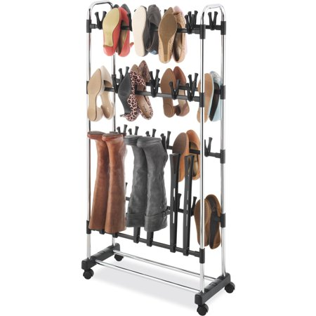 whitmor clip on shoe and boot rack black and chrome. Black Bedroom Furniture Sets. Home Design Ideas