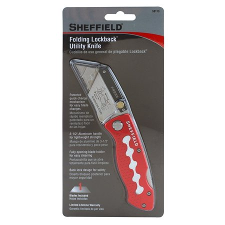 58113 Ultimate Folding Lockback Utility Knife, Patented quick change mechanism for easy blade changes By Sheffield Sheffield Folding Lockback Utility Knife