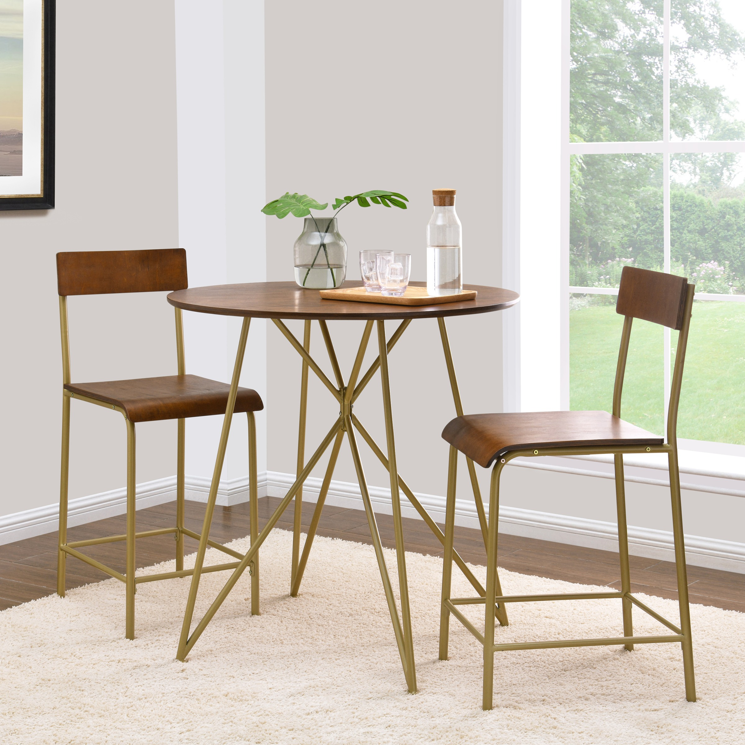Better Homes & Gardens 3-Piece Counter Height Genevieve Dining Set, Wood with Gold Frame