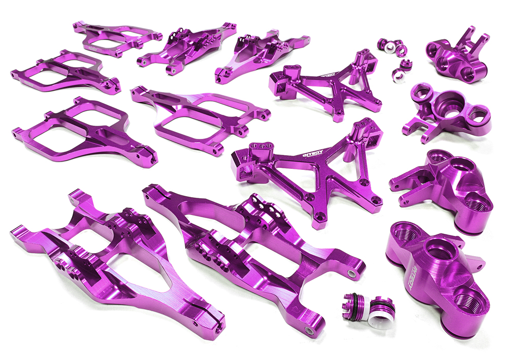 Integy RC Toy Model Hop-ups C25958PURPLE Billet Machined Suspension Set for Traxxas 1 10... by Integy