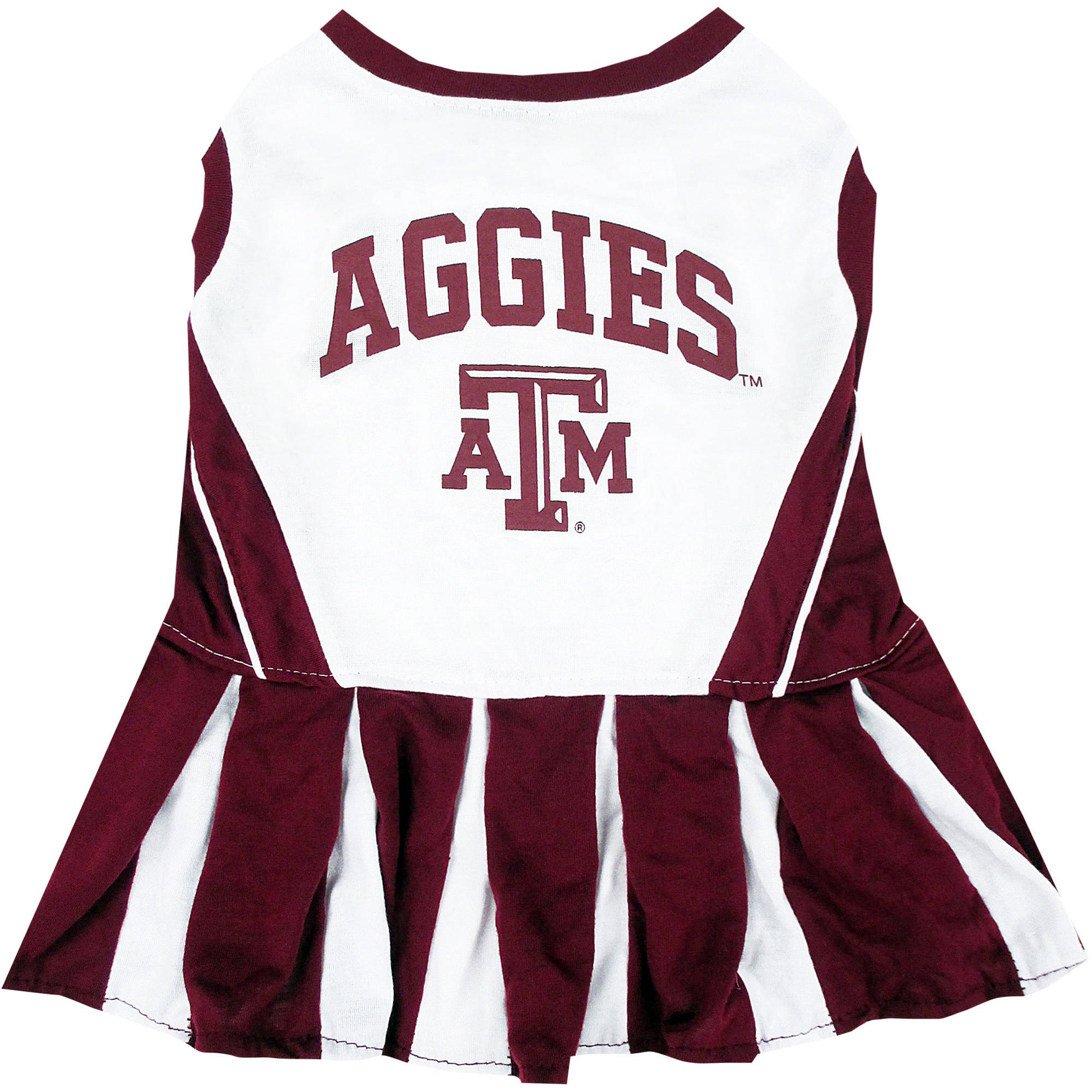Pets First College Texas A&M Aggies Cheerleader, 3 Sizes Pet Dress Available. Licensed Dog Outfit
