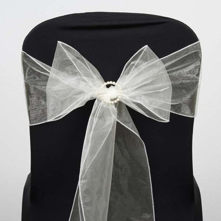 White Sash (Efavormart 25pc x Wholesale Sheer Organza Chair Sashes Tie Bows for Wedding Events Banquet Decor Chair Bow Sash Party)