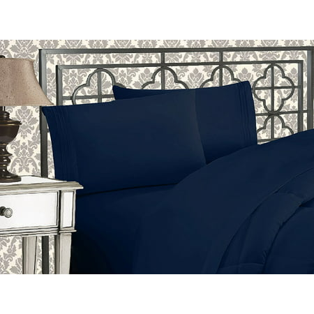 Elegant Comfort® 1500 Thread Count Egyptian Quality 2pcs PILLOW CASES - ALL SIZES AND COLORS, Queen, Navy ()