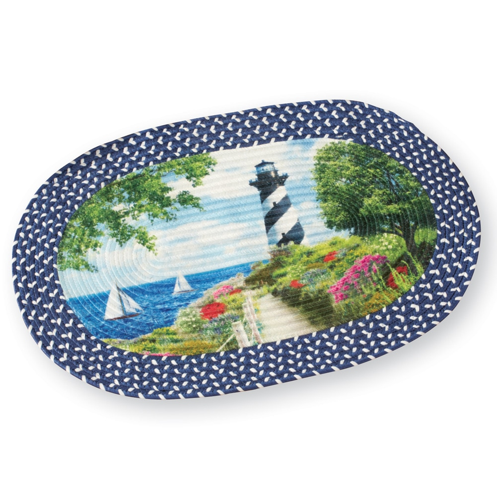 """Seaside Nautical Black and White Lighthouse Braided Accent Rug, 30""""x19 1 2\ by Collections Etc"""