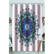 Phfzk Hippie Indian Mandala Window Curtain, Bright Pattern With Peacock Window Curtain Blackout Curtain For Bedroom Living Room Kitchen Room 52X84 Inches One Piece