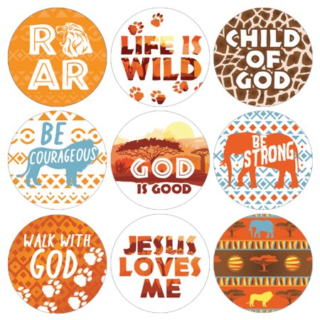 Vacation Bible School Stickers | 1,080ct | VBS Wild Animals Safari Religious Party Favor Candy Labels