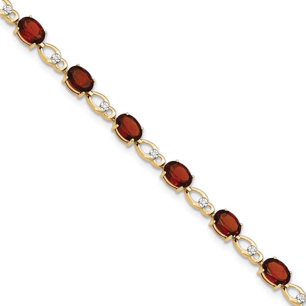 Diamond2Deal 14k Solid Gold Garnet Natural Diamond Bracelet by Diamond2Deal