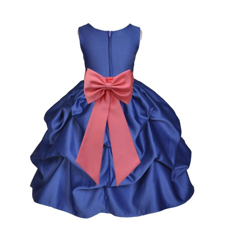 Ekidsbridal Formal Satin Bubble Navy Blue Flower Girl Dress Junior Bridesmaid Wedding Pageant Toddler Recital Easter Holiday Communion Birthday Girls Baptism Special Occasions Princess 208T - Navy Blue Dress Girl