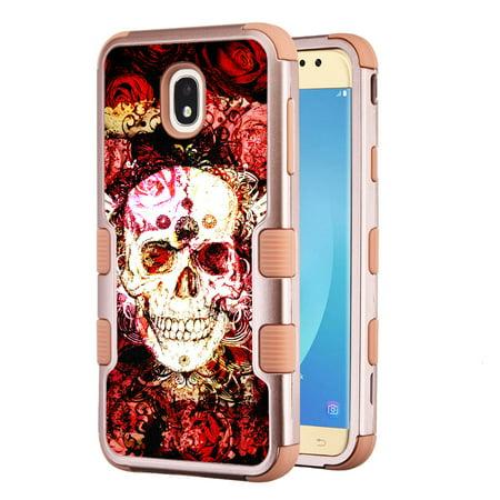 3-Layer Case for Samsung Galaxy J7 Crown / J7 aura / J7 Star / J7 Refine / J7 (2018), OneToughShield ® Hybrid Shockproof Protector Phone Case (Rose Gold Color) - Rose Skull