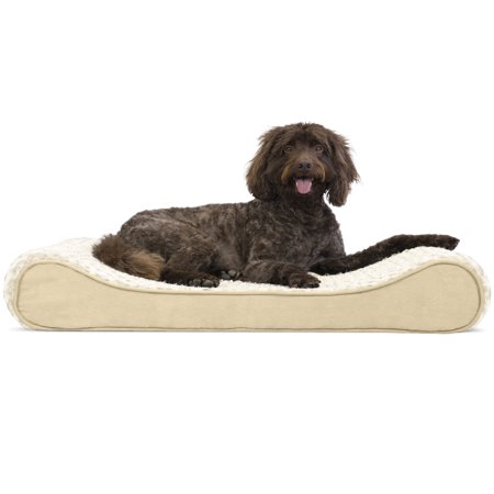 (FurHaven Pet Dog Bed | Orthopedic Ultra Plush Luxe Lounger Pet Bed for Dogs & Cats, Cream, Large)