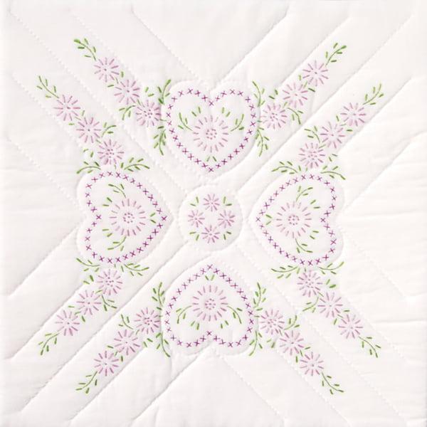 """Stamped White Quilt Blocks 18""""x18"""" 6/pkg-hearts"""