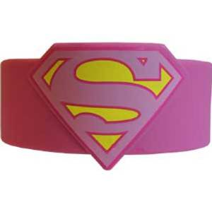 Wristband - Superman - Supergirl Logo Pink Rubber PVC Toy rwb-dc-0002 - Rubber Wristbands