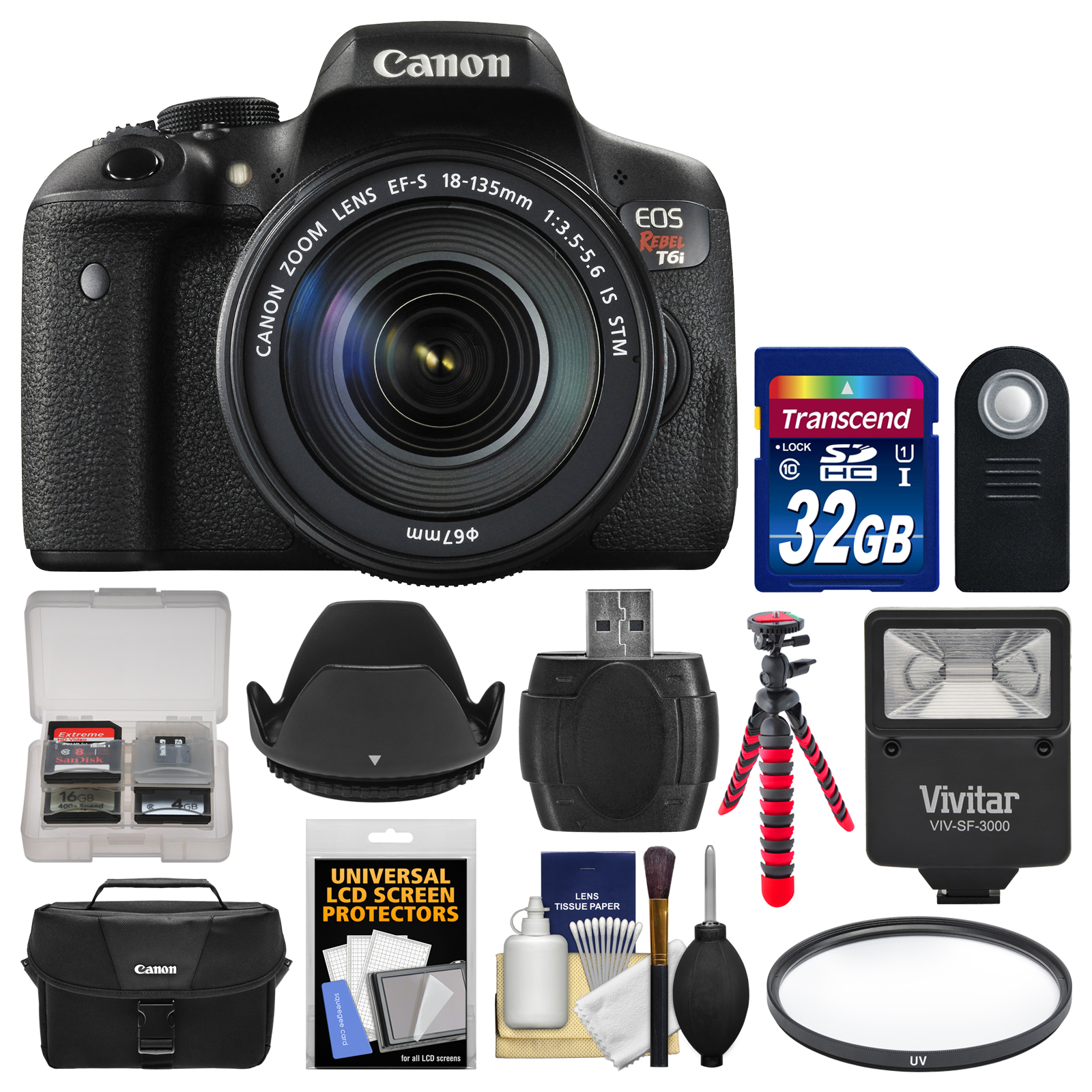 Canon EOS Rebel T6i Wi-Fi Digital SLR Camera & EF-S 18-135mm IS STM Lens with 32GB Card + Case + Flash +... by Canon