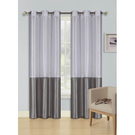 1pc WHITE SILVER GRAY (EID) LINED FOAM BACKING BLACKOUT  Faux Silk Drape Panel Top Chrome Metallic Grommet Window Curtain Treatment Drape 2 Shade 37 wide x 84 length ()