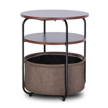 Round Side Corner Table End Bed Table with Storage Basket, Sofa End Table Round Table, Corner table, 18.9 × 18.9 × 23.6 in ()