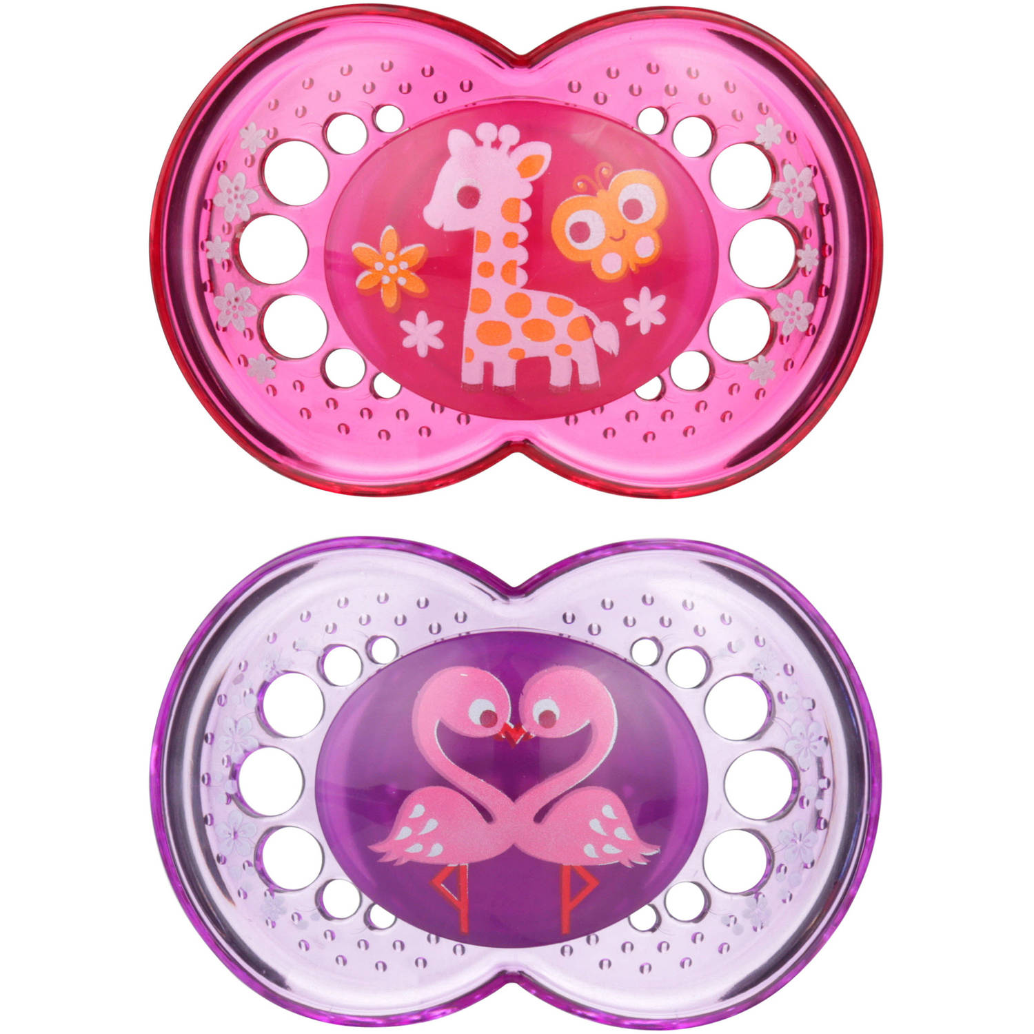 MAM Crystal Orthodontic Pacifier, 6+ Months, 2 Pacifiers, Girl