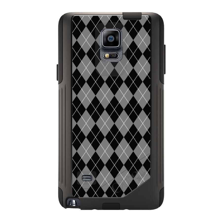 CUSTOM Black OtterBox Commuter Series Case for Samsung Galaxy Note 4 - Black Grey White Argyle