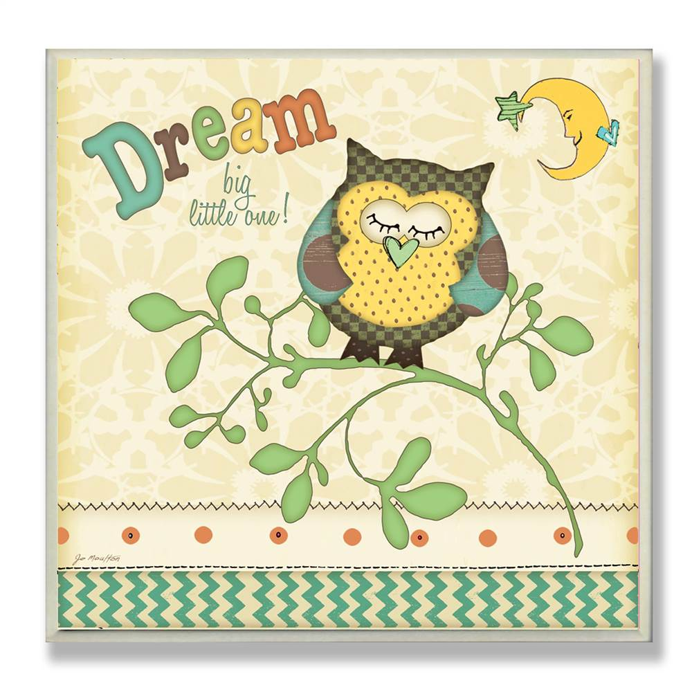 Dream Owl Under Moon Square Wall Plaque