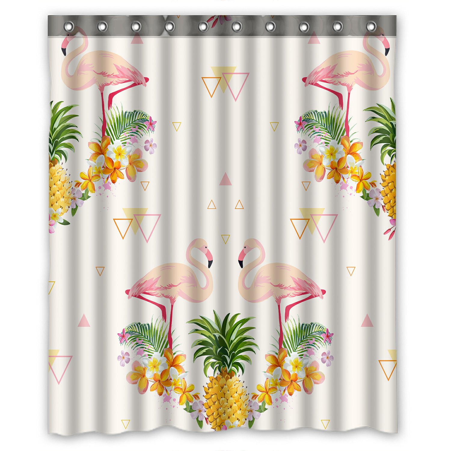 PHFZK Geometric Shower Curtain, Pink Flamingo And