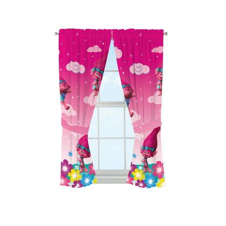 Trolls Kids Bedroom Curtain Panel Set, Set of 2, 63-inch L 2 Curtains Panels Drapes