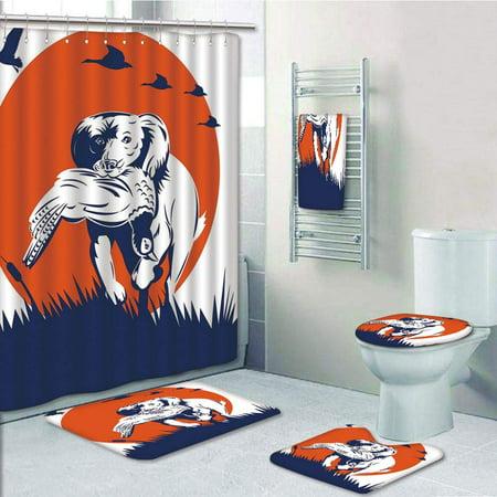 EREHome Cocker Spaniel Dog Retrieving Pheasant Flying Ducks at Sunset Dark 5 Piece Bathroom Set Shower Curtain Bath Towel Bath Rug Contour Mat and Toilet Lid Cover - image 1 of 2