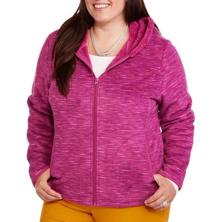 9cc74a2e45a Faded Glory - Women s Plus-Size Microfleece Hoodie with Cozy Sherpa Lining  - Walmart.com