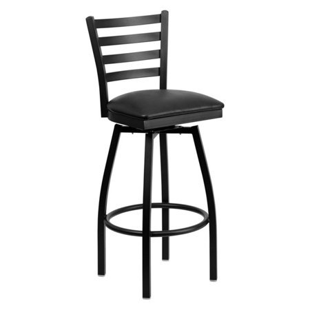 (Flash Furniture HERCULES Series Black Ladder Back Swivel Metal Barstool, Vinyl Seat, Multiple Colors)