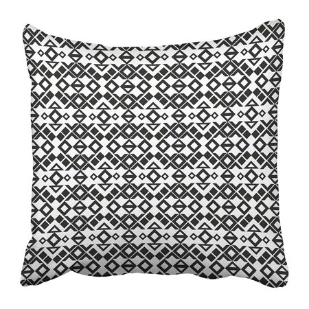 ARHOME Black Diamond Ethnic Pattern Ikat Mexico Native Navajo Abstract American Asian Pillow Case Cushion Cover 18x18 inch ()