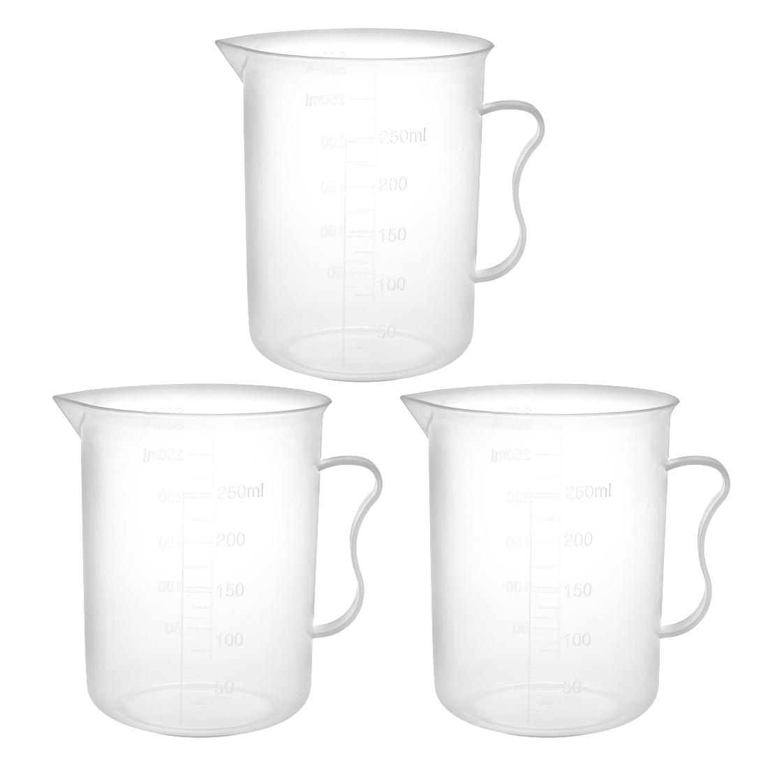 3pcs Laboratory Clear White PP 300mL Measuring Cup Handled Beaker by Unique-Bargains