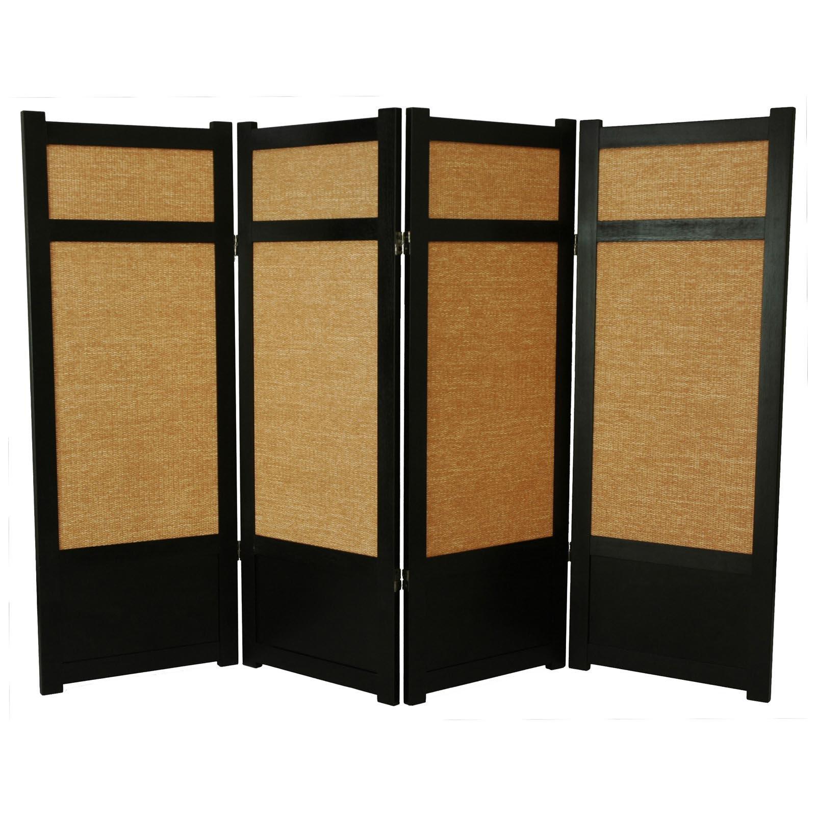 Oriental Furniture Low Jute Fiber Shoji Screen Room Divid...