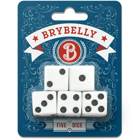 Brybelly White Dice for Board Games and Card Games, 5-pack Set - 16mm Pipped