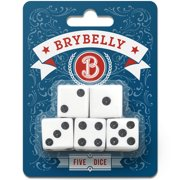 Brybelly White Dice for Board Games and Card Games, 5-pack Set - 16mm Pipped Six-Sided