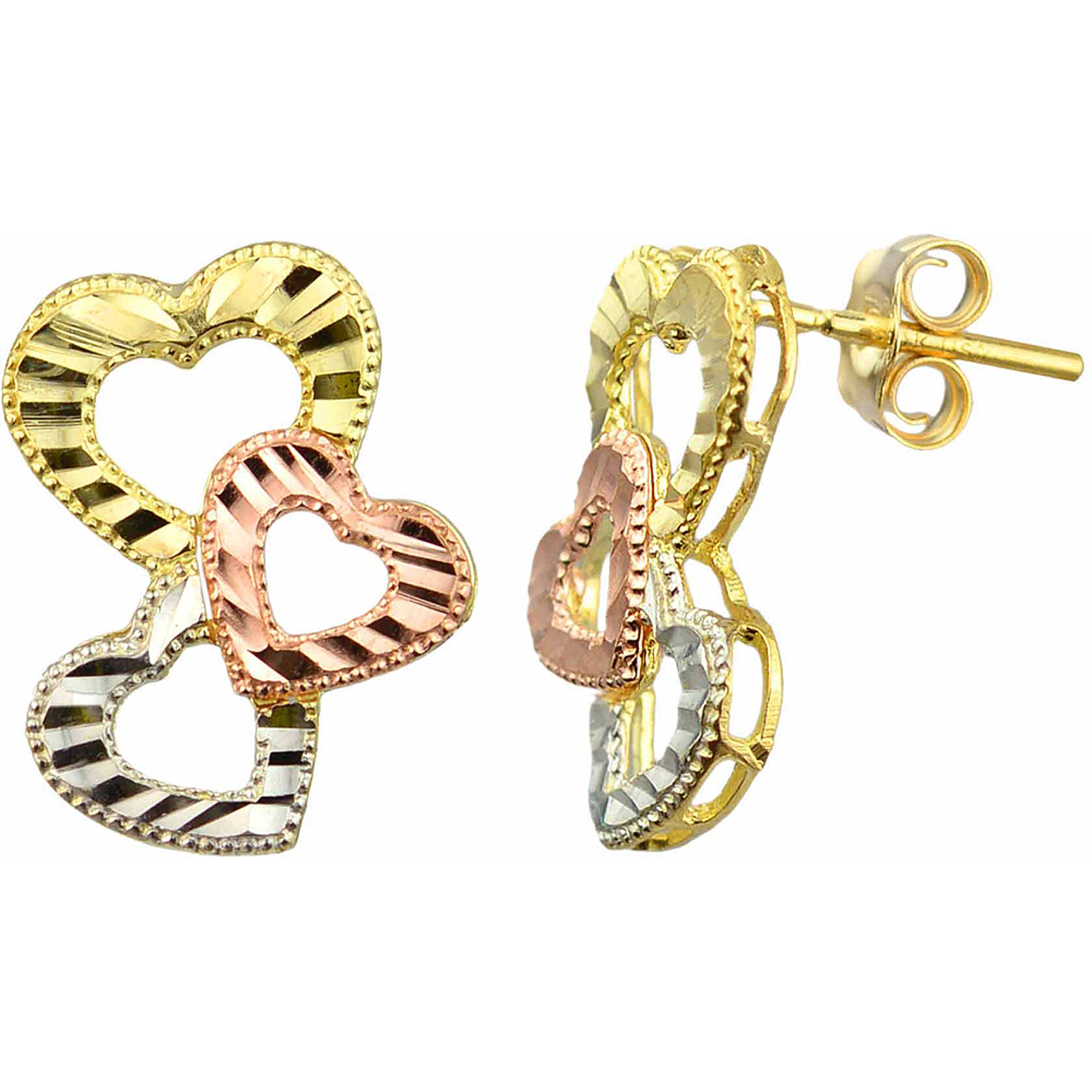 US GOLD 10kt Gold Tri-Color Heart Stud Earrings