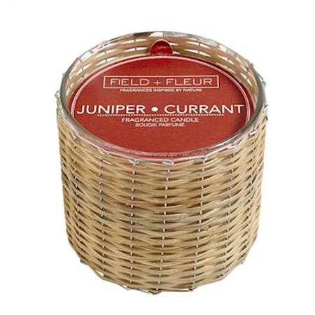 JUNIPER+CURRANT Field + Fleur Reed 2-Wick Handwoven 12 oz Scented Jar Candle (Juniper Candle)