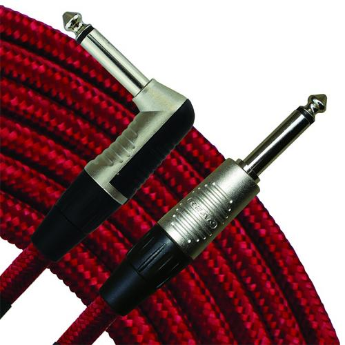 "RapcoHorizon 10' Vintage Cloth Instrument Cable, Red, 1/4"" Straight to Right Angle"