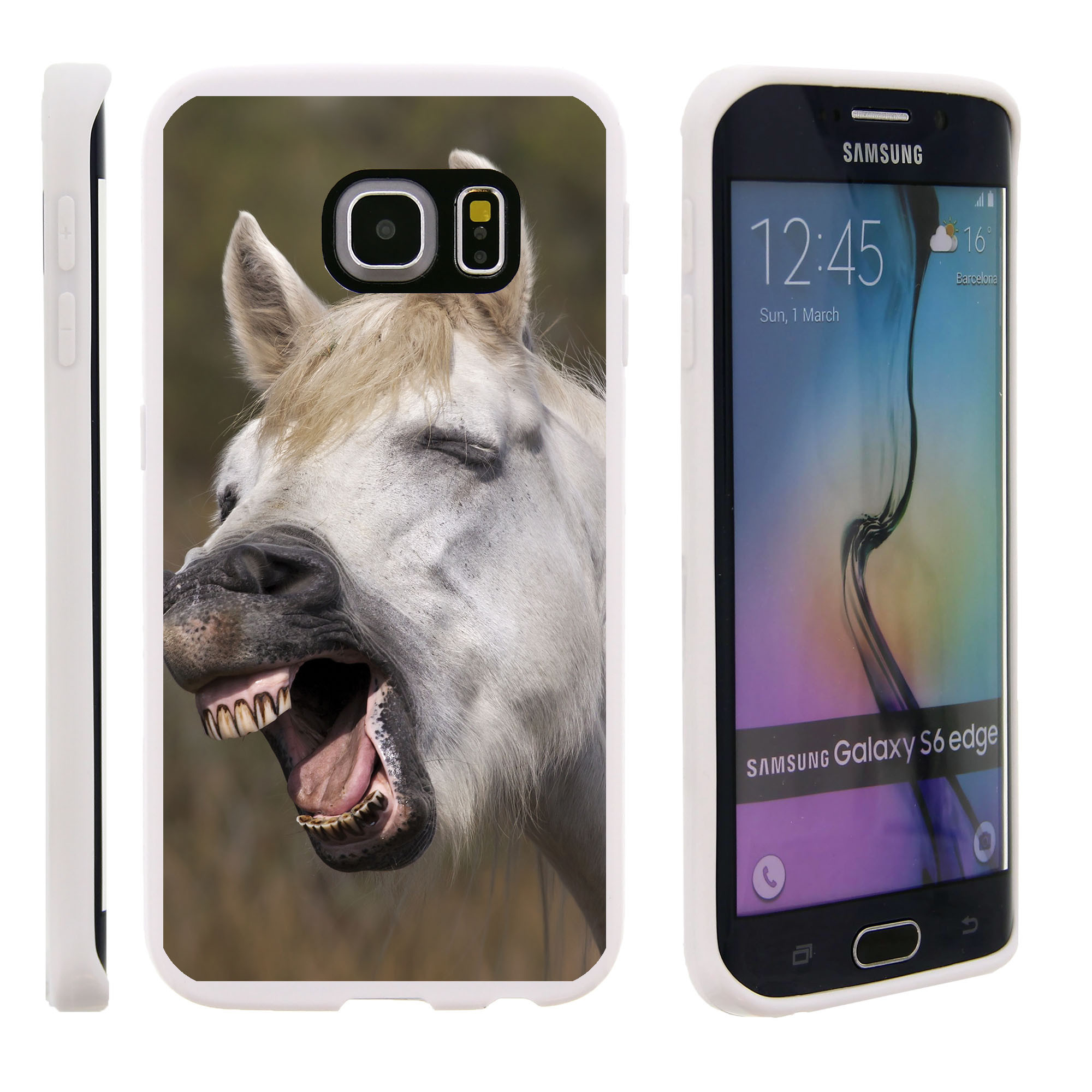 Samsung Galaxy S6 Edge G925, Flexible Case [FLEX FORCE] Slim Durable TPU Sleek Bumper with Unique Designs - Tired Donkey