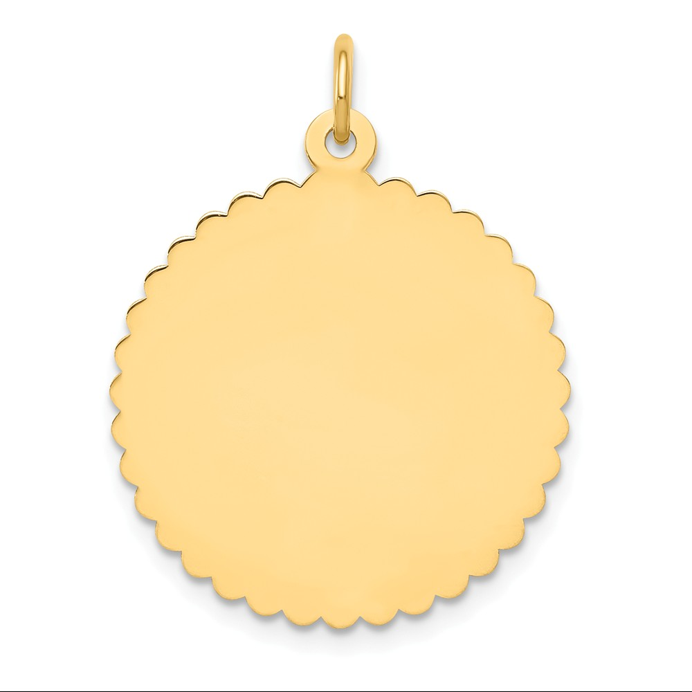 14k Yellow Gold Engravable Round Scalloped Disc Charm (1.1in long x 0.8in wide)