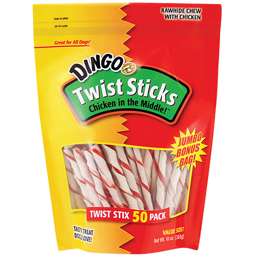 Dingo Twist Sticks Rawhide Chews with Chicken for Dogs, 50 count