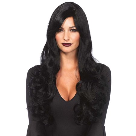 Black Long Wavy Wig Adult Halloween - Black Fairy Halloween Makeup