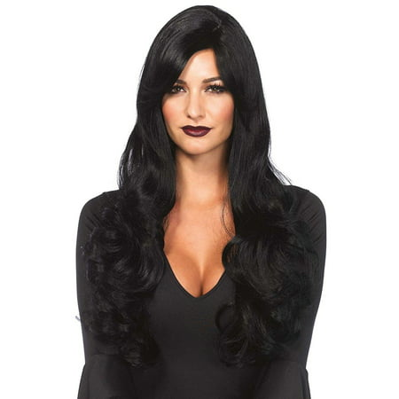 Black Long Wavy Wig Adult Halloween Accessory (Black Veins Halloween Makeup)