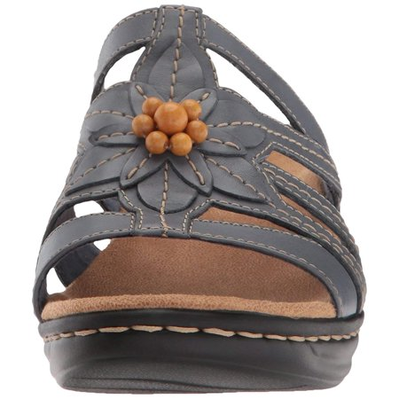 705bddb5 CLARKS Womens LEXI MYRTLE Leather Open Toe Casual, Blue/Grey Leather ...