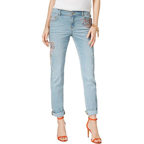 buy ladies jeans : INC Womens Regular Fit Embroidered Boyfriend Jeans Blue 4
