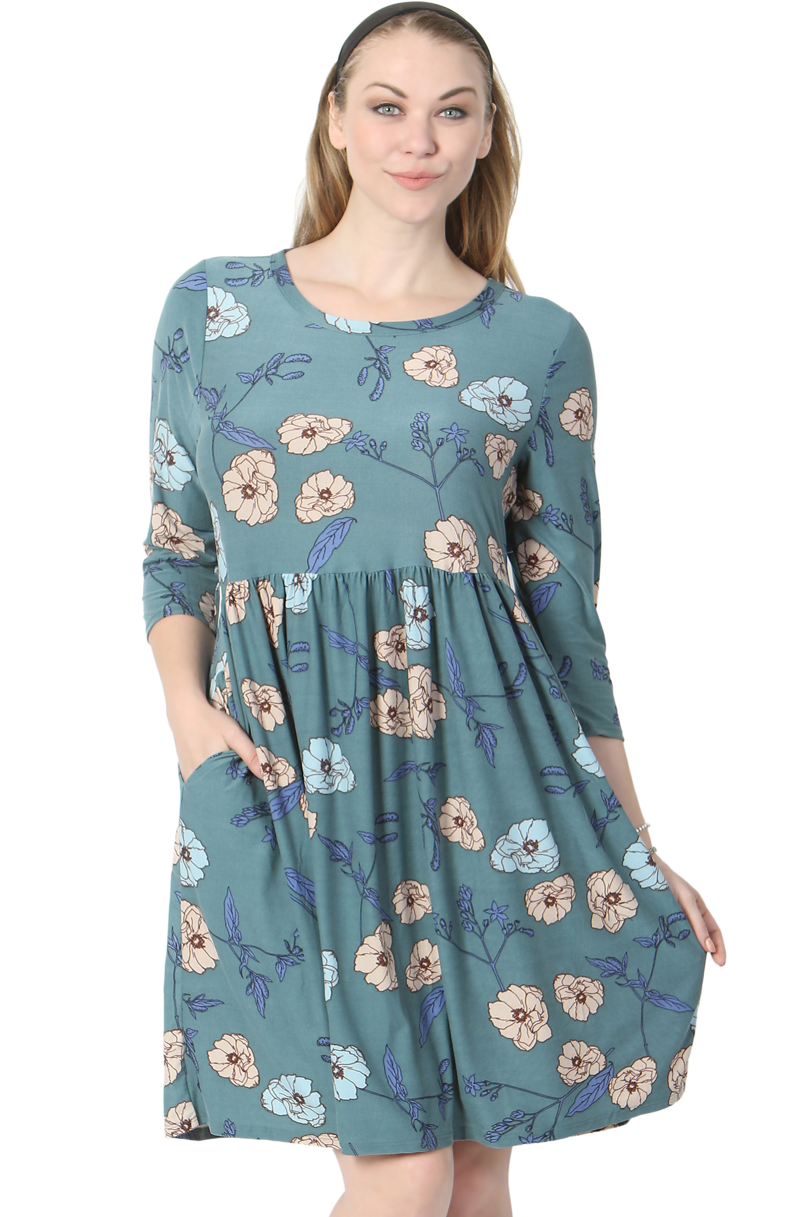TheMogan Junior's Floral Print 3/4 Sleeve Empire Waist Stretch Babydoll Dress
