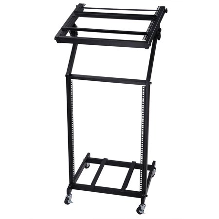 Rack Mount DJ Mixer Stand Studio Equipment Adjustable Stage Cart w/ Wheel Music Party Show 16U - Party Equipment