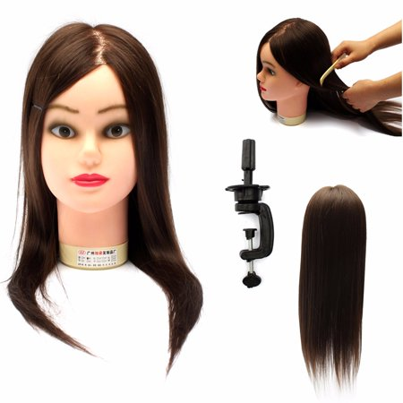 LuckyFine Hairdressing Training Head 60% Real Hair 18'' Hairdressing Head Mold / Dummy Head / Practice Model with Bracket - image 2 of 7
