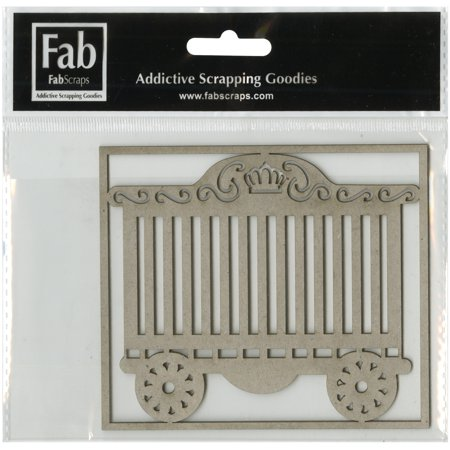 Fabscraps Zooty Cuties Die Cut Gray Chipboard Shape Circus Carriage 4 25  X3 75