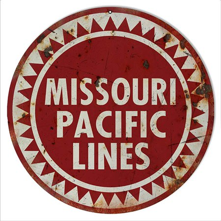 Distressed Missouri Pacific Lines Railroad Sign 14 Round