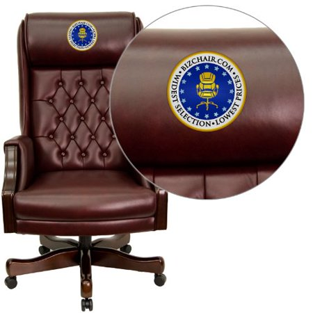 Embroidered High Back Traditional Tufted Burgundy Leather Executive Swivel Office Chair Flakcc696tgembgg