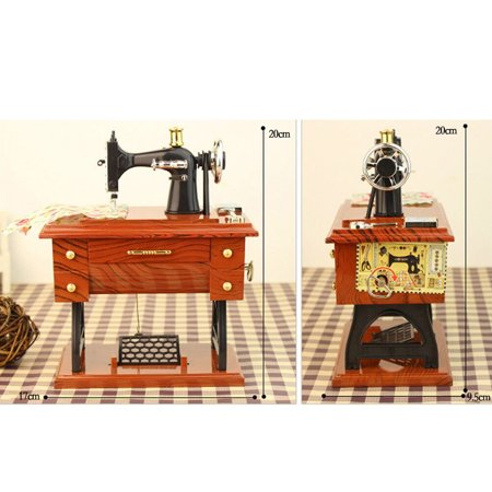 Womail Vintage Music Box Mini Sewing Machine Style Mechanical Delectable Decor Mini Sewing Machine